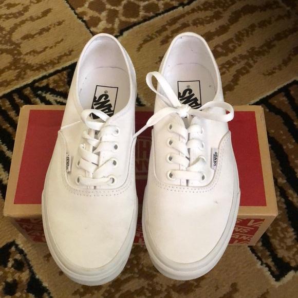 vans authentic true white on feet